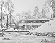 Snow-covered Landscape Drawings Originals - Saco River Bridge by Tim Murray