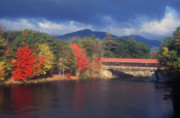 Saco Prints - Saco River Covered Bridge Storm Print by John Burk