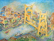 Sacramento Tower Bridge Painting Prints - sacramento Bridge Print by Joan Landry