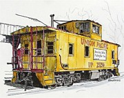 Railroads Painting Framed Prints - Sacramento Caboose Framed Print by Terry Banderas