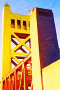 Backroad Digital Art Prints - Sacramento Tower Bridge In Abstract - 7D11564 Print by Wingsdomain Art and Photography
