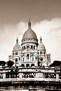 Crowd Prints - Sacre Coeur Basilica in Paris Print by Elena Elisseeva