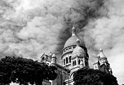 Sacre Coeur Metal Prints - Sacre Coeur Black and White Metal Print by Andrew Fare