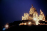 Sami Sarkis Posters - Sacre Coeur lit up at night with flood lights Poster by Sami Sarkis