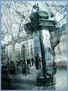 European City Digital Art - Sacre Coure street advertising in moody blue by Jennifer Holcombe