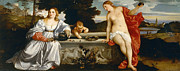 Ages Painting Prints - Sacred and Profane Love - 1514 Print by Titian