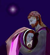 Christ Child Mixed Media Posters - Sacred Family Poster by AnDe Herbert