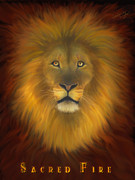 Prophetic Artwork Framed Prints - Sacred Fire Lion Framed Print by Constance Woods