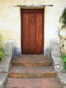 Stucco Posters - Sacred Heart Door Poster by Carol Groenen