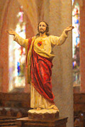 The Resurrection Of Christ Posters - Sacred Heart of Jesus Poster by Clarence Holmes