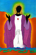 Religious Art Mixed Media Prints - Sacred Heart of Jesus Print by Fred Gardner