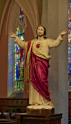 Stained Glass Windows Posters - Sacred Heart of Jesus II Poster by Susan Candelario