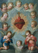 Devotional Paintings - Sacred Heart of Jesus surrounded by angels by Jose de Paez
