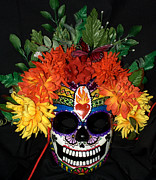 Bright Sculpture Posters - Sacred Heart Sugar Skull Mask Poster by Mitza Hurst