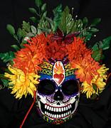 Sacred Heart Sugar Skull Mask Print by Mitza Hurst
