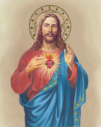 Jesus Mixed Media Framed Prints - Sacred Heart Framed Print by Valerian Ruppert