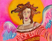 Angels Pastels Prints - Sad Angel Print by Christine Perry