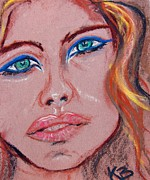 Emotions Pastels Posters - Sad Blue Eyes-framed Poster by Kathryn Barry