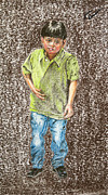 People Pastels Posters - Sad Child Poster by Jim Barber Hove