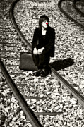 Railroad Tracks Posters - Sad Clown Poster by Joana Kruse