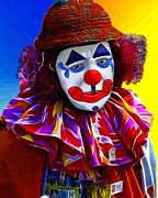Methune Hively Digital Art Posters - Sad Clown Poster by Methune Hively