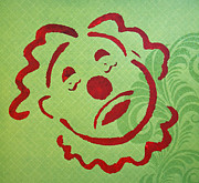 Amusements Painting Originals - Sad Clown on Green by Patricia Arroyo