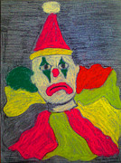 Sad Pastels Posters - Sad Clown Poster by Robyn Louisell
