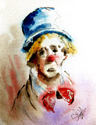 Clown Paintings - Sad Clown by Steven Ponsford
