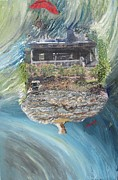 Fantasy Tree Art Print Mixed Media Posters - Sad House2 Your Dreams flew Away Poster by Lisa Kramer