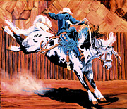 Rodeo Paintings - Saddle Bronc by Cheryl Poland