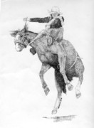 Pointillism Art - Saddle Bronc by Lucien Van Oosten