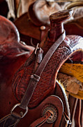 Straps Prints - Saddle in tack room Print by Inge Johnsson