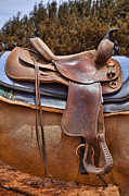 Worn Leather Metal Prints - Saddle Up Metal Print by Kelley King