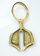 Gold Tone Keyring Jewelry - Saddlebag Key Ring for a Man by Virginia Vivier
