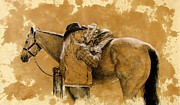 Debra Jones Drawings Prints - Saddled up Print by Debra Jones