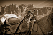 Cheval Posters - Saddled Up near Superstition Mountains Poster by Christine Hauber