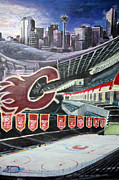 Arena Drawings Prints - Saddledome- Calgary Flames Print by Chris Ripley