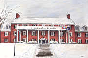 University Of Arkansas Painting Originals - SAE Fraternity House at UofA by Tansill Stough