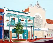 Building Painting Acrylic Prints - Saengar Theater Pensacola Acrylic Print by Richard Roselli