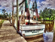 Orange Digital Art Originals - Safe Harbor Southern Tradition by Michael Thomas