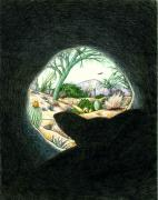 Hiding Drawings Prints - Safe In The Den Print by Theresa Higby