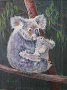 Koala Pastels Posters - Safe with Mama Poster by Shirley Leswick
