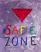 Ally Painting Framed Prints - Safe Zone Space gender and sexual minority LGBTQIA in Purple Pink Red Green Orange Yellow Blue LGBT  Framed Print by ImQueer AndLoveIt