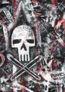 Illustrative Painting Prints - Safety Pins Punk Skull Print by Roseanne Jones