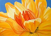 Bold Pastels Posters - Saffron Splendour Poster by Colleen Brown