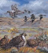 Wyoming Paintings - Sage Grouse Watch the Migration by Dawn Senior-Trask