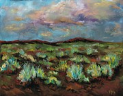 Storms Pastels Framed Prints - SageBrush Framed Print by Frances Marino