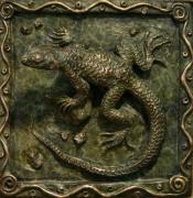 Wyoming Reliefs Prints - Sagebrush Lizard Print by Dawn Senior-Trask