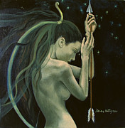 Live Art Posters - Sagittarius from Zodiac series Poster by Dorina  Costras