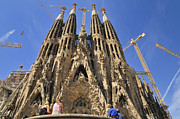 Nativity Photo Framed Prints - Sagrada Familia - impressive church from Gaudi in Barcelona Framed Print by Matthias Hauser